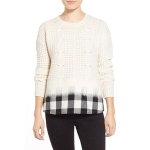Madewell Wintermix plaid wool sweater size small